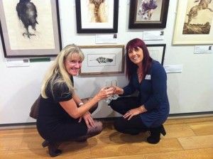 Me and Hazel Soan with my painting, 'Feathered Friend'