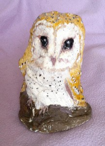 My mod-roc sculpture of George the Barn Owl, painted ready to show the children.