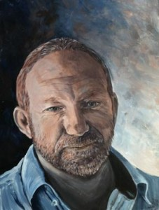 Portrait of Stu, painted for his 50th Birthday by Mandi Baykaa-Murray.